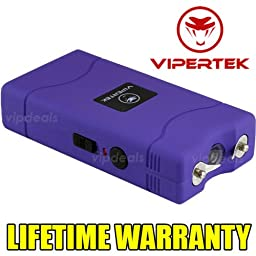 VIPERTEK PURPLE Mini Stun Gun VTS-880 60 Million Rechargeable LED Flashlight