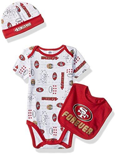 Gerber Childrenswear NFL San Francisco 49ers Boys Bodysuit Bib & Cap Set, 0-3 Months, (San Francisco 49ers Set)