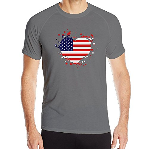 Xlf-K Men'S Dry Fit Athletic Tech Short Sleeve T-Shirt Flag Heart Us United States America Superball Xx-Large