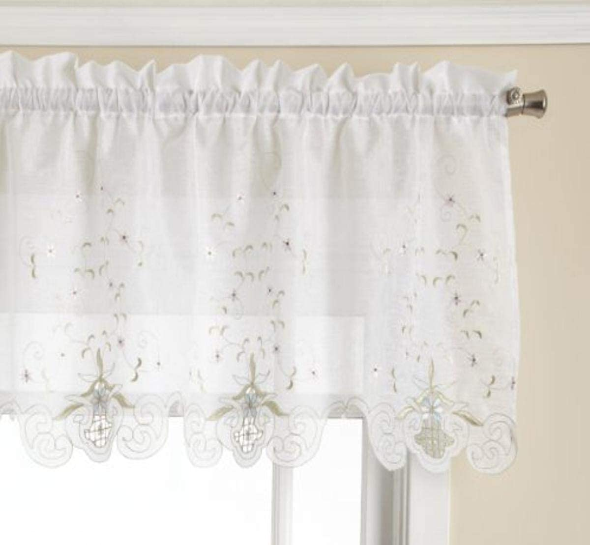 Today s Curtain Sunshine Semi Sheer Reverse Embroidery 18-Inch Valance Tailored, White Blue