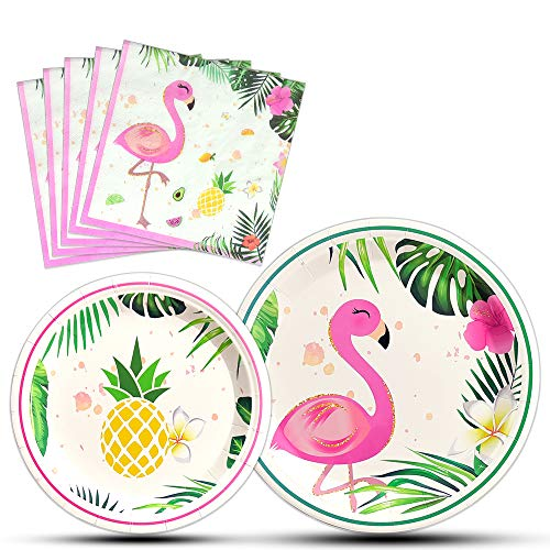 WERNNSAI Flamingo Party Supplies - Luau Disposable Summer Hawaiian Themed Tableware Set for Girl Kids Birthday Dinner Dessert Plates and Napkins Serves 16 Guests 48PCS]()