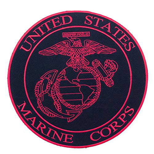 (Sturgis-Mid-West United States Marine Corps Red on Black Iron on Center Patch for Biker Vest CP177)
