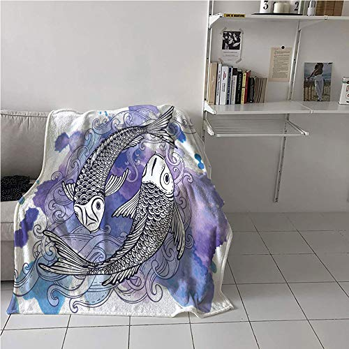 WodCht Koi Fish Stroller Blanket,Sketch Art of Japanese Carps on Purple Background Hand Drawn Shapes,Lightweight Thermal Blankets,Microfiber All Season Blanket 70