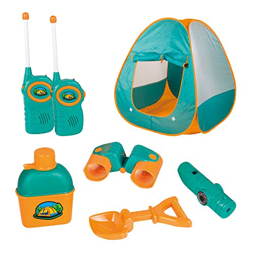 12 Piece Kids Tent Camping Set - Includes Big Tent, Telescope, 2 Walkie Talkies,Water Bottle, Shovel, Multifunctional Whistle, Compass, Flashlight, Thermometer - for Boys & Girls Age 3 - 12 yrs Old]()