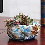 YOURNELO Resin Adorable Emulational Animal Flower Pot Succulent Planters Vase (Dragon)