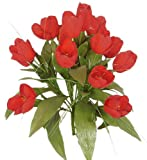 "15"" Elegant Life-like Silk Tulip Wedding Bush - Red sv"
