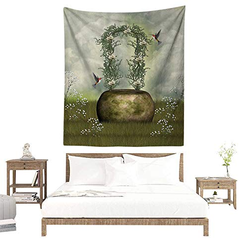 alisoso Wall Decor Room Tapestry,Hummingbirds Decorations Collection,Fairytale Scene with Flowers Stone and Hummingbird Wildflower Arch Cloudy Sky P W47 x L63 inch Printed Nature Wall Tapestry