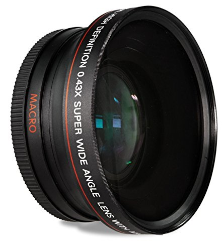 52MM 0.43x Wide Angle Conversion Lens with Macro for Nikon D3200, D3300, D5100, D5200, D5300, D5500, D7200, D90, D500, D600, D610, D700, D750, D800
