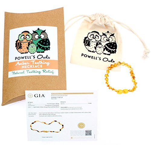 Baltic Amber Teething Bracelet/Teething Anklet For Babies, Toddlers & Kids (Unisex, Raw Unpolished Honey, 5.5'') Lab-Tested, 100% Certified Natural Baltic Amber - All Natural Teething Pain Relief by Powell's Owls (Image #2)