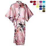 OJIA Peacock Blossoms Kimono Silk Bathrobe Long Nightwear