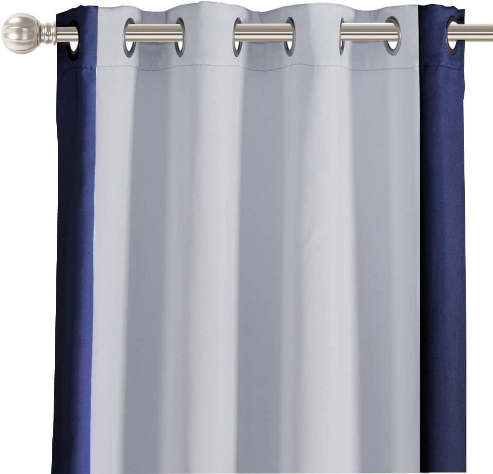 LORDTEX Color Block Blackout Curtains for Kids Room -Color Bordered Thermal Insulated Curtains Noise Reducing Window Drapes for Boys and Girls Bedroom, 52 x 63 Inches Long, Navy, Set of 2 Panels