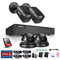 ANNKE 4CH 1080P Lite Security DVR with 1TB Hard Drive and (4) HD 1.0MP Outdoor Surveillance CCTV Cameras, IP66 Weatherproof Housing, Super Night Vision, Motion Detection
