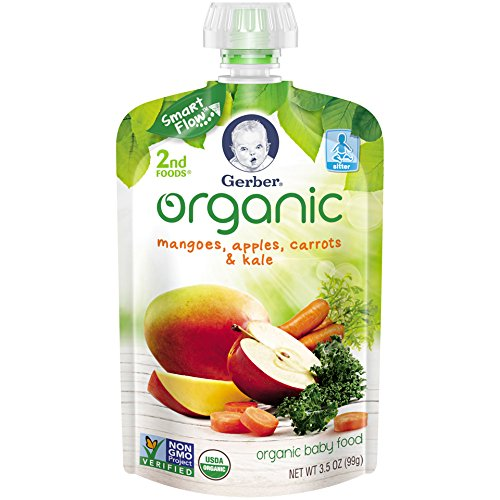 Gerber Organic 2nd Foods Baby Food, Mangoes, Apples, Carrots & Kale, 3.5 oz Pouch, 12 count (Organic 2nd Foods Apple)