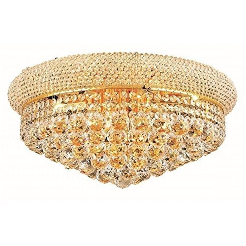 Elegant Lighting 1800F20G/RC Primo Collection 10-Light Flush Mount Royal Cut Crystals with Gold Finish from Elegant Lighting