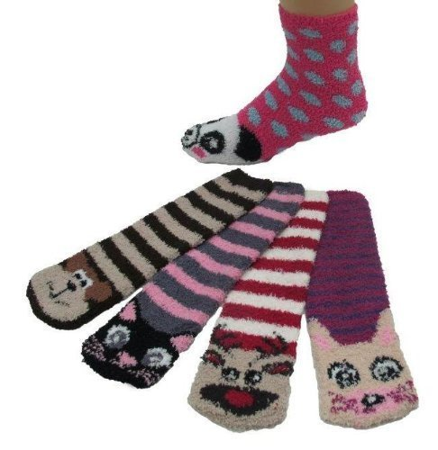 Super Soft Fuzzy Stripe Socks, With Animal Design, 12 Pair, Size 9-11