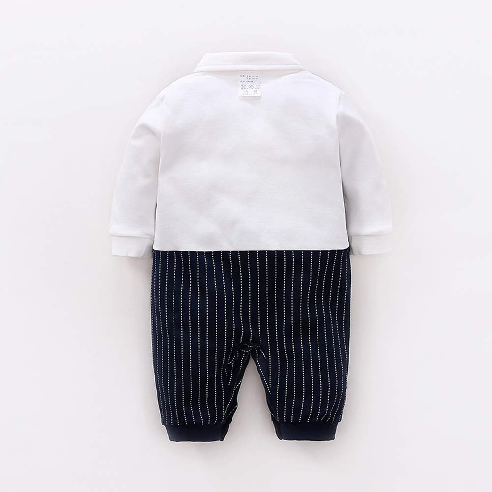 LAVIQK Newborn Baby Boys Long Sleeve Tuxedo Plaid Gentleman Formal Outfit Suit