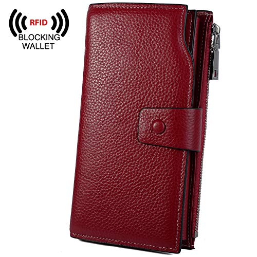 enuine Leather RFID Blocking Large Capacity Luxury Clutch Wallet Card Holder Organizer Ladies Purse Wallets for women brown Red ()
