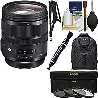 Sigma 24-70mm f/2.8 ART DG OS HSM Zoom Lens with 3 Filters + Backpack + Sling Strap + Kit for Nikon Digital SLR Cameras