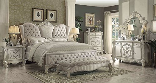 Acme Set Bedroom Set - ACME Versailles Bedroom Set with Queen Bed, Nightstand, Dresser and Mirror