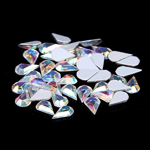 Nizi Jewelry Flatback Non Hotfix Strass Nail Art Rhinestones Glass Stones 3D Nail Jewelry Decorations 50pcs (Crystal AB Water Drop 6x3.6mm)