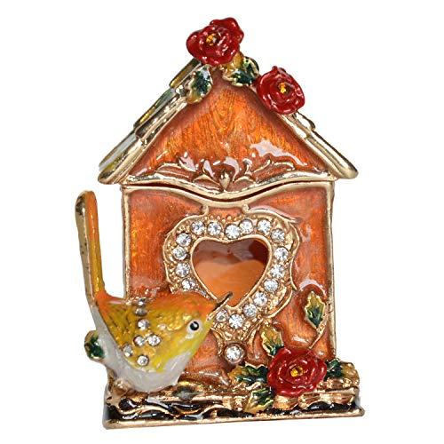 Wren Birdhouse Treasured Trinket Box Metal Jewelry Box Bird Decoration Tabletop