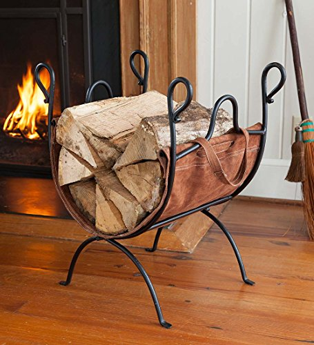 Folding Log Rack with Leather Sling - 21 L x 15 W x 24.5 H