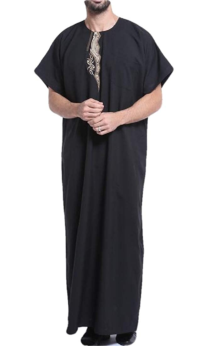 SHOWNO Mens Middle East Dubai Arab Short Sleeve Islamic Muslim Long Robes