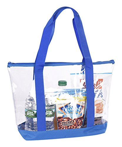 Clear Stadium Security Travel & Gym Zippered Tote Bag By Bags For Less – Sturdy PVC Construction, Royal Blue Trim, Full Zipper Top Gusset – Clear Front Pocket – Color Fabric Bottom & Long Handles Front Zipper Gusset Pocket