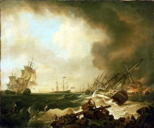 Toperfect $50-$2000 Custom Made - Handmade Oil Painting of Bataille Cardinaux Naval Battles Canvas Art Warship-2 Works -Large Size 15 - Painted by Professors