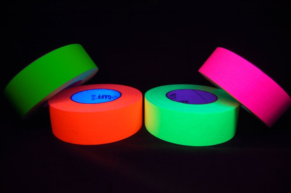 4 Pack 2 Inch Blacklight Reactive Fluorescent Gaffer Tape (50 Yards Per Roll)