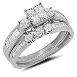 1.01 Carat (ctw) 10k Gold Princess Cut Round & Baguette Diamond Bridal Set Wedding Ring & Matching Band