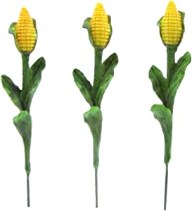 TG,LLC Treasure Gurus 3pc Miniature Corn Stalks Fairy Garden Farm Ornament Set Mini Plant Dollhouse Decor Accessory