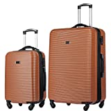2 PC Luggage Set Durable Lightweight Hard Case Spinner Suitecase 20in29in LUG2 LY06SCALE BRONZE