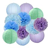 Furuix Mermaids Under the Sea Party Supplies 18pcs Mint Purple Blue Tissue Paper Pom Pom Paper Lanternsl for Bridal Shower Girls' Birthday Wedding Birthday Party Decoration Baby Shower Decorations