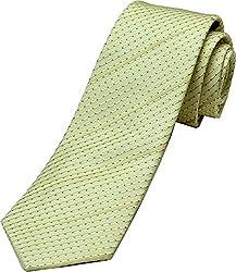 Zarrano Skinny Tie 100% Silk Woven Cream/Black Dot Tie