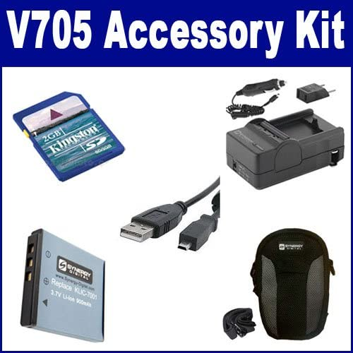 Kodak V705 Digital Camera Accessory Kit includes: USBU8 USB Cable SDM-158 Charger SDKLIC7001 Battery SDC-21 Case KSD2GB Memory Card