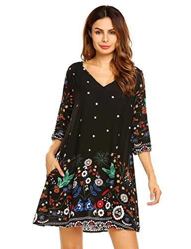 Beyove Women's Vintage Ethnic Style Printed V Neck Loose Fit Bohemian Tunic Dress White (Back V-neck Tunic)