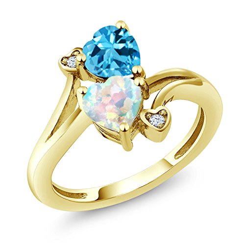 Blue Simulated Topaz - 1.73 Ct Heart Shape White Simulated Opal Swiss Blue Topaz 10K Yellow Gold Ring