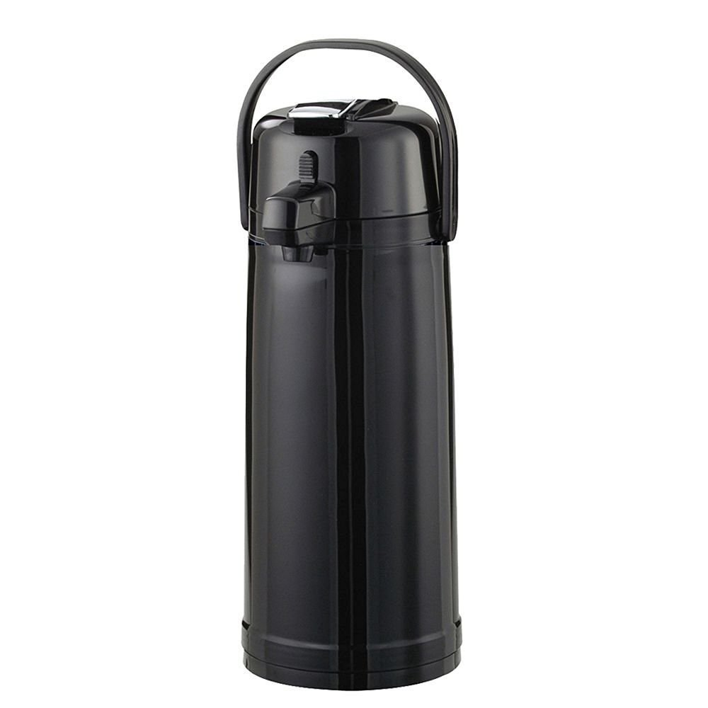 Service Ideas ECAL22PBLMAT Eco-Air Lever Lid Airpot, Glass Vacuum, 2.2 Liter (74.4 oz.), Matte Black, Ribbed Texture by Service Ideas