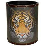 ORIENTAL FURNITURE CAN-WST-TIGER Bengal Tiger Waste Basket