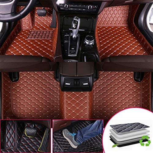 Custom Car Floor Mats for A5 Convertible 2017-2019 2-Door Full Surrounded Protection Luxury Leather Material Wear Resistant Car mat Carpet Liners Brown