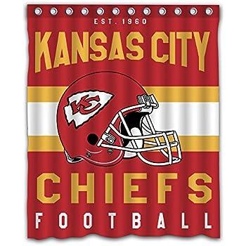 Sonaby Custom Kansas Chiefs Waterproof Fabric Shower Curtain For Bathroom Decoration 60x72 Inches