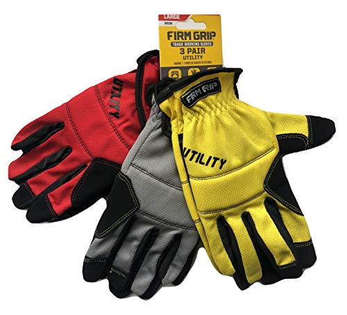 General Utility Spandex Gloves - Tough Working Gloves, 3 Pair Utility, Red, Gray, Yellow