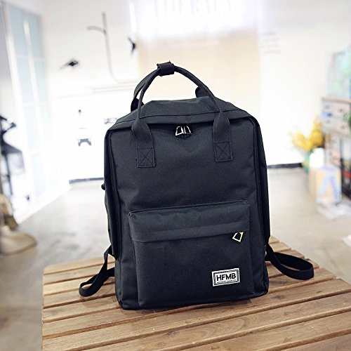 Simple Solid Color Canvas Bag Backpack Bag Student Backpack Computer Carrying Black Black