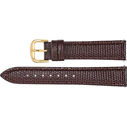 16mm Regular Brown Leather Lizard Grain Padded Watch Strap (Lizard Padded Brown)