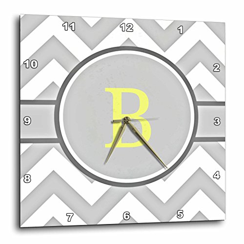 3dRose Grey and White Chevron with Yellow Monogram Initial B - Wall (Gray Clock Plate)