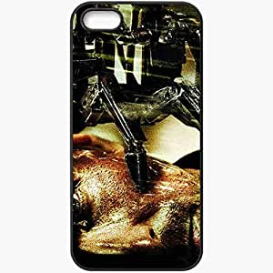 Personalized iPhone 5 5S Cell phone Case/Cover Skin Terminator 4 Terminator Salvation Terminator face rain Movies Black