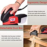 Dobetter Mouse Detail Sander with 18Pcs Sandpaper, Multi Electric Palm Finger Sander with Sanding Discs for Tight Spaces Sanding in Home Decoration, DIY -MS20/2.0A/13000 OPM