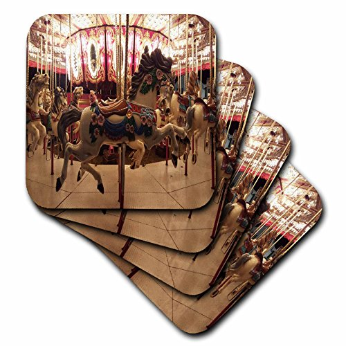 (3dRose TDSwhite - Miscellaneous Photography - Hobby Horse Merry Go Round Carousel - set of 8 Ceramic Tile Coasters (cst_285318_4))