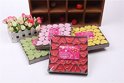 Yansanido pack of 50 Sweet Scented Tealights Romantic Love Heart Shaped Floating (Heart Shaped Wedding Candle)